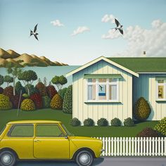 """Colour painting Bach with Mini"""" by Hamish Allan, NZ. Yellow mini outside white beach house, seagulls fly and trees and lawn. Available at New Zealand Fine Prints (Nov Christchurch New Zealand, New Zealand Landscape, New Zealand Art, Nz Art, Kiwiana, Wall Art For Sale, Through The Window, Beach Art, Artist At Work"""