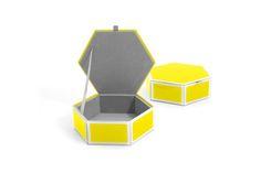 Mia Glass Storage Box Yellow - Small Hexagon