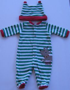 Just One You Christmas Romper 2 Piece Footed Newborn  to 3 Months #CartersJustOneYou #TwoPiece