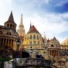 """myhungary: """" View from underneath the Fishermans' Bastion up to Matthias Church and the Castle District in Budapest. """""""