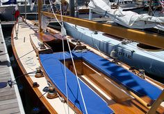 """The beautifully restored R-boat """"Ace"""" at the San Diego Wooden Boat Festival 2013"""