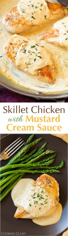 Skillet Chicken with Mustard Cream Sauce - This chicken is AMAZING! It was so easy to make too. Even my three year old loved it! @cookingclassy