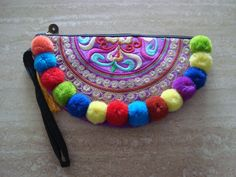 pom pom embroidered enthnic  purses multi by moderncameoboutique