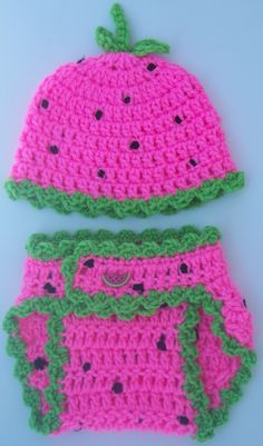 Baby Girl Crochet Watermelon Diaper Cover Set-Ruffled Hat With Stem & Ruffled Diaper Cover