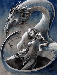 Lady and Her Ride by DanielGovar.deviantart.com on @deviantART #DRAGON