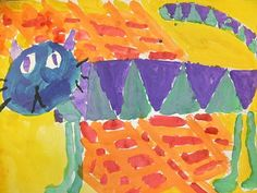 we heart art: Hot Dogs and Cool Cats - dogs are painted in warm colors, cats painted in cool colors, backgrounds in opposite colors