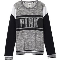 Victoria's Secret PINK Collegiate Crew Sweatshirt Large Gray Marl ($80) ❤ liked on Polyvore featuring tops, hoodies, sweatshirts, shirts, sweaters, victoria secret tops, crew shirt, grey crewneck sweatshirt, victoria's secret and grey shirt