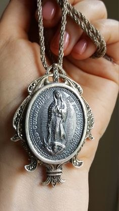 Large Vintage Our Lady of Guadalupe Medal Pendant Sterling Silver Blessed Mother Mary Virgin Mary Mother Mary Catholic Jewelry Religious by SacredBarcelona on Etsy