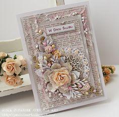 eco-scrap: W lekkim różu. Wedding Cards Handmade, Beautiful Handmade Cards, Handmade Birthday Cards, Greeting Cards Handmade, Fun Fold Cards, Folded Cards, Diy Cards, Shabby Chic Cards, Sympathy Cards