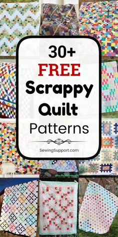 Free Quilt Patterns for Scrappy Quilts. free diy scrap quilt patterns, tutor… Free Quilt Patterns for Scrappy Quilts. free diy scrap quilt patterns, tutorials, and projects to sew to help you use up all of those fabric scraps you've been saving. Quilt Square Patterns, Scrappy Quilt Patterns, Scrappy Quilts, Easy Quilts, Square Quilt, Quilting Tutorials, Quilting Tips, Machine Quilting, Quilting Projects