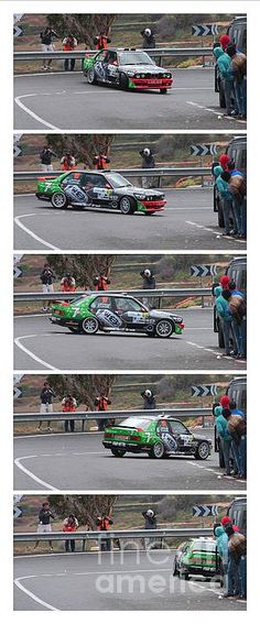 A multi panel vertical panorama print showing the movement of Jose Maria Ponce spinning out on a hairpin in his BMW M3, during the practice session of the El Corte Ingles rallye 2014, on the Island of Gran Canaria, Canary Islands, Spain.