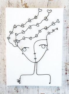 Girl in lovet made of wire, the frame may be an unusual decoration of the interior      frame size 25 х 35 cm (9 3\4 х 14 Inch)