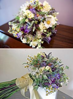 Bouquets with wildflowers, Herbs and Raspberries