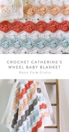 Crochet crafts 818318194771962628 - Free Pattern – Crochet Catherine's Wheel Baby Blanket Source by loopinglymade Crochet Daisy, Baby Afghan Crochet, Manta Crochet, Free Crochet, Knit Crochet, Crochet Blankets, Crochet Motif, Crochet Edgings, Baby Afghans