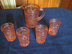 Vintage   Miniature Pink Pressed  Peacock Glass Pitcher and 4 Glasses  #AnchorHocking