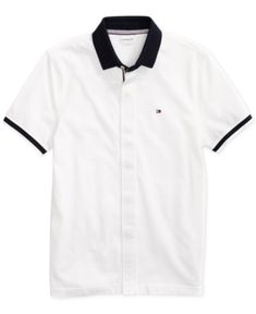 69f87149f0 Tommy Hilfiger Adaptive Men s Sanders Polo Shirt with Magnetic Buttons -  White L Tommy Shop