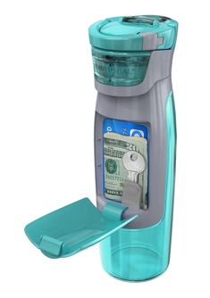 A Water Bottle with Built-In Wallet