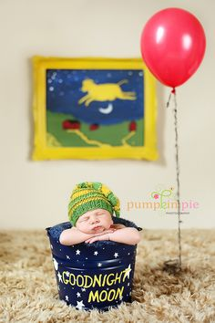 Goodnight Moon Photo Session- what an adorable idea (the cow jumping over the moon art would be so cute in a kid space, too!)