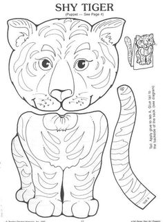 Tiger Puppet Craft. Take one paper bag, a tiger template