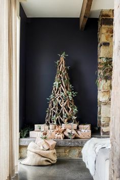Tim and Joanne's Rustic Stone Cottage During the holidays, a driftwood Christmas tree from Three Oh Two Willows fits in perfectly with th Australian Christmas Tree, Christmas Decorations Australian, Aussie Christmas, Summer Christmas, Noel Christmas, Xmas Decorations, Christmas Wreaths, Christmas And New Year, White Christmas