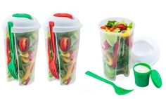 Insulated to-go container made from BPA-free plastic keeps salads and fruit crisp, fresh, and cool with its easy seal and ice chamber