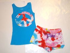 Boutique Flowers By Zoe Peace Sign Tie-Dye Tank Top Shorts Outfit Set Girl S 7 8 #FlowersbyZoe #EverydayHoliday