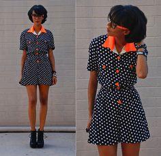Vintage Polka Dot Romper, Mezzanine Neon Collar Shirt, Found At A Party No Lens Neon Glasses