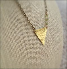 Hammered Brass Triangle Necklace w/ Peridot & Pyrite / OOAK Handmade Boho Chic Geometric Jewelry by MuffyandTrudy on Etsy
