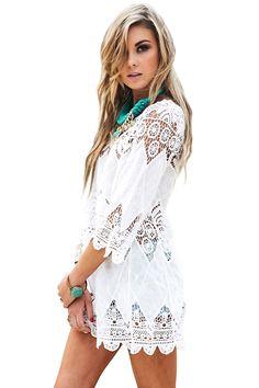 Women s Bathing Suit Cover Up Lace Crochet Tunic Bikini Beach Dress at  Amazon Women s Clothing store 2f29d3c26