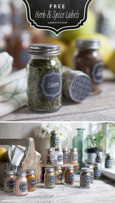 Free Printable Vintage Themed Chalk Board Herb and Spice Jar labels by Liagriffith.com