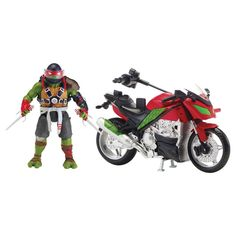 Teenage Mutant Ninja Turtles Foot Motorcycle and Action Figure - Raphael, Green