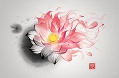 Watercolor Lotus Tattoo Idea by Carebear509