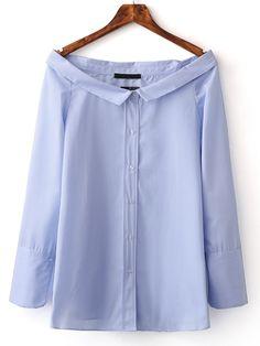 Shop Blue Boat Neck Stripe Buttons Front Blouse online. SheIn offers Blue Boat…