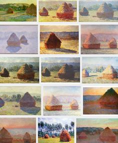 Claude Monet, French painter Monet series Haystacks, known for its thematic use of repetition to show differences in perception of light across various times of day, seasons, and types of weather. Claude Monet, Traditional Paintings, Contemporary Paintings, Artwork Lighting, Monet Paintings, Famous Art, Art For Art Sake, Elements Of Art, Art Techniques