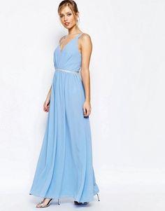 Jarlo V Neck Maxi Dress In Chiffon With Embellished Waist