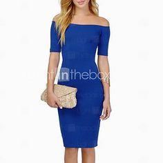 Women's Bateau Backless Bodycon Knee Length Sheath Dress