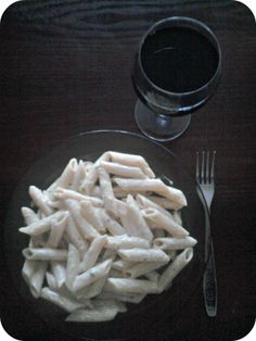 #penne #pasta #cheese #blue #cheese #red #wine