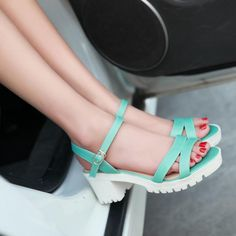Women's Pure Color Thick Heel Pump Sandals