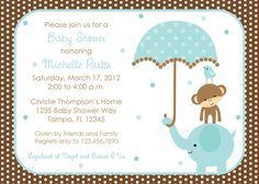 Polka dot Elephant Boys Baby Shower Invitations
