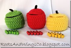 crochet apples housing tiny polymer clay apples to use as counting manipulatives