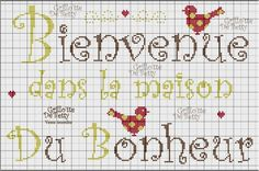 Bienvenue - welcome - Cross Stitch Quotes, Cross Stitch Books, Cross Stitch Patterns, Cross Stitch Freebies, Alphabet, Shabby, Cross Stitching, Pixel Art, Embroidery Stitches