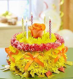 Celebrate Fall Birthdays With Our Signature Floral Birthday Cake Shaped Arrangement Happy Flower