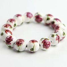 Floral Stamping Porcelain Beaded Bracelet