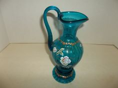 Fenton Glass Turquoise Pitcher Handpainted & Signed By Bill Fenton New Century by GrandpawsGlassShop on Etsy