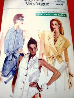 1988 Tie Blouse Uncut Very East Very Vogue Pattern 7257, Sleeveless and Big Shoulders, Wrap Blouse, Petite, Size 6, 8 and 10