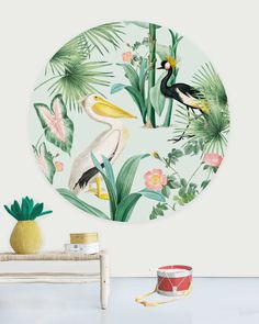 Geef je kamer een nieuwe look met één van de behangcirkels. Ze zijn van hoog kwalitatief vliesbehang (155grm/m2), hebben een beschermingslaag en er wordt gewerkt met ecologische inkten, waardoor de luchtkwaliteit in de kamer goed blijft. De behangcirkels hebben een diameter van 145cm; in 1 maat verkrijgbaar. Dit elegante behang cirkel ontwerp met een pelikaan in pastel kleuren creeërt een unieke sfeer in je kamer. A N Wallpaper, Creative Labs, Circle Design, Pastel Pink, Amsterdam, Kids Room, Wall Decor, Prints, Create