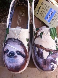 And who doesn't love sloths? | Community Post: 25 Beautifully Hand-Painted TOMS For Every Fandom