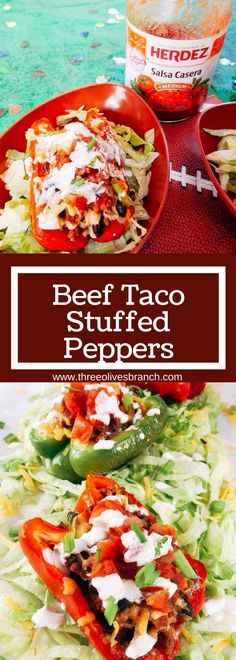 Taco flavors featuring HERDEZ® salsa made healthy in a bell pepper shell. Make in advance for your event and grilled in just 10 minutes! Kid friendly and perfect for the big game. @walmart @HerdezBrand #ad  #AuthenticSalsaStyle