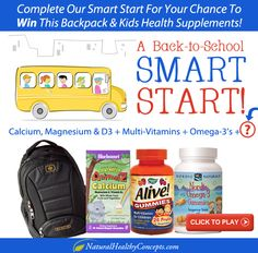 Complete our Natural Healthy Kids Smart Start with one more item to WIN this backpack and all of the kids supplements! #Contest #Promotion #Game