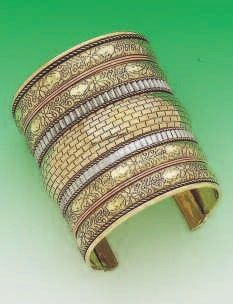 Tri Tone Cuff made of Brass, Copper and white color metal. Also available in inches and 2 inches with minor changes. Brass Cuff, Bangles, Bracelets, Copper, Metal, Jewelry, Jewlery, Bijoux, Schmuck